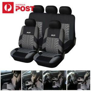 Car Seat Cover Classic Washable Embroidery Black&Grey Interior Accessories AU