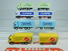 AU951-1# 4x Herpa H0 Hängerzug Mercedes/MB: Rosbacher+Pepsi+Selters+Sinalco