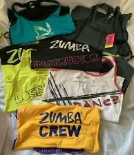 "ZUMBA ""INSTRUCTOR"" - Racerback, Spaghetti, & Cut Tank Top Lot Of *8 - Size LARGE"
