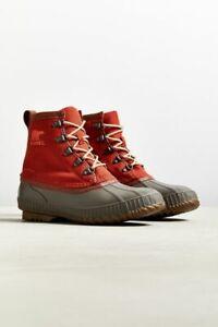 Sorel Cheyanne II Short Nylon Boot Orange Gray Men's Size 12
