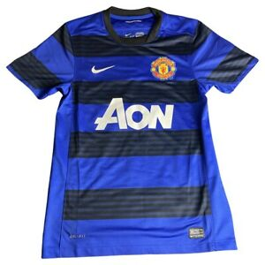 Men's Size S Manchester United 2011 Blue Black Striped Jersey Rooney Chicharito