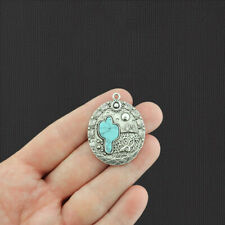 Cactus Pendant Antique Silver Tone Charms with Imitation Turquoise - SC1111