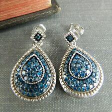 Signed SJ Blue Diamond Teardrop Dangle Earrings in Sterling Silver