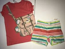 Gymboree messenger bag tee watercolor stripe shorts size 5