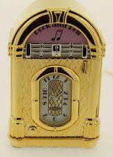 New Bulova Mini Clock Brass Juke Box B0425 NIB Great Present Miniature Music