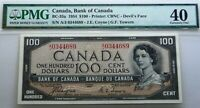 WORLD FAMOUS ,DEVIL FACE BANKNOTE ! BANK  OF CANADA 1954 $100  PMG 40