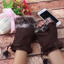 Ladies Winter Warmer Faux Rabbit Fur Hand Wrist Knitted Fingerless Gloves Mitten