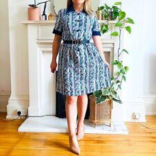 Vintage 1970s White Green Blue Floral Print Secretary Shift Dress Plus Size L 18