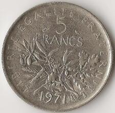 FRANCE, 5 Francs, 1971,  KM926A.1, Nickel Clad Copper-Nickel