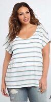 New Torrid Retro Boho White Green Striped Lace Inset Back Top Plus Size 2X