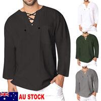AU New Mens Casual T Shirt Cotton Linen Tee Hippie Shirts Long Sleeve Yoga Top