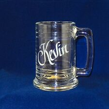 Personalized Beer Mug  15 oz  Glass Stein Dishwasher safe Free Etching