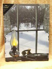 Oil Lamp in Window Lighted Canvas Wall Decor Sign Christmas Snow Record Player