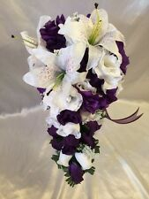 Purple Wedding Bridal Bouquet Silk Wedding Flower Cascade groom 2 pc