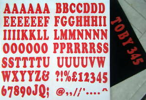 iron on 35mm - A-Z LETTERING and NUMBERS red t-shirt printing slogan printing