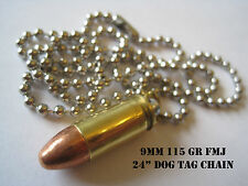 """Replica 9mm Bullet Necklace w/ 115 Gr FMJ Bullet And 24"""" Dog Tag Chain! Lot of 6"""
