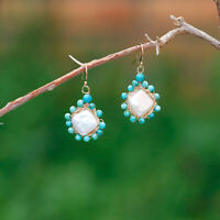 E306 Baroque freshwater pearl natural Turquoise 14K Gold Filled earrings 37mm