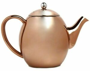 1 Litre Polished Copper Effect Teapot Retro Stainless Steel Tea Coffee Hot Drink