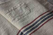 Antique GRAIN SACK feed sack natural grainbag feedsack RARE red / BLUE PATCHED