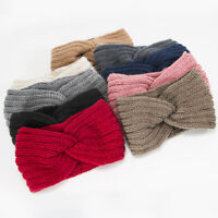 Fashion Autumn Winter Cross Knitted Warm Headband Elastic Sports Wool Headgear