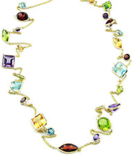 14K Yellow Gold Necklace Multi-Shape and Multi-Color Gemstones 48 Inches