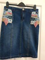 TU womens Stretch Blue Denim Pencil Skirt size 12 Length 23 New