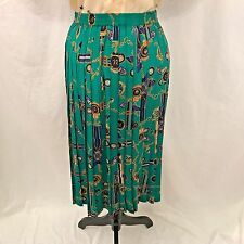 Alfred Dunner Green Patterned Beautiful Flowing Long Skirt - Size Petite 10