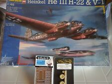 HEINKEL HE 111 H-22 & V1 1/48 SCALE REVELL MODEL+RESIN WHEEL+PHOTOETCHED PARTS