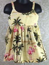 Ky's Hawaiian Yellow Aloha Dress Baby Girl 1-2 Tropical Flamingos Palm Trees