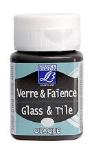 50ml Glass Tile Paint Lefranc & Bourgeois Porcelain Ceramic Art Colours Opaque T Deep Black (opaque)