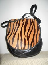 HALSTON Black Leather Animal-print Calf-hair Flap Crossbody Bag w/Wallet