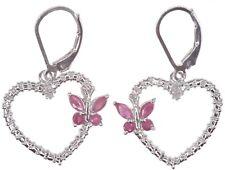 Ruby 1.14 carat Butterfly Heart Dangle Leverback Sterling Silver Earrings