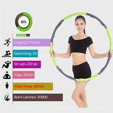 Hula Hoop Reifen Fitnessreifen Turnreifen Gymnastik Abnehmbar grün+grau NEU SU-1