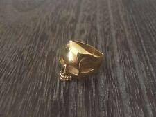 RON HERMAN STAINLESS STEEL GOLD PLATED SKULL MENS DESIGNER RING SZ.10