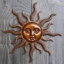 Sonne aus Metall Wanddeko goldfarbig Wandbild Eisen 28cm Wandschmuck NEU