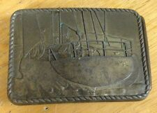 vintage FISHING/WHALING BOAT BRASS BELT BUCKLE shows BACK OF SHIP ON OCEAN rare
