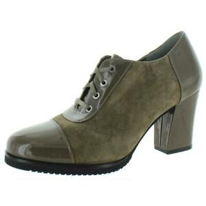 Array Womens Jade Taupe Suede Oxford Heels Shoes 9 Medium (B,M)  9738