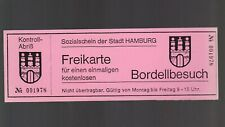 JUX >Kopierter Gutschein für kostenlosen Bordellbesuch in Hamburg auf rosa Pappe