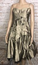 NWT BCBG Max Azria Dress Woven Gold Silk Tulle Lined Strapless Women's 8