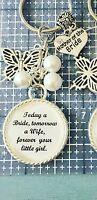Wedding MOTHER OF THE BRIDE Keyring Keepsake Favour Gift ANY COLOUR BEADS