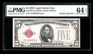 DBR 1928 $5 Legal Fr. 1525 CA Block PMG 64 EPQ Serial C13380692A