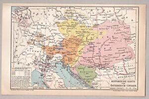 Historische Karte von Österreich-Ungarn - Lithographie 1902