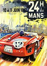 Reproduction Motor Racing Poster, Le Mans 24 Hour 1961, Wall Art, Size A2
