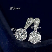 18K WHITE GOLD GF CLEAR CRYSTAL WEDDING WOMENS STUD EARRINGS SMALL CUTE