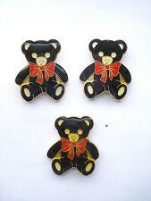 SALE VINTAGE TEDDY BEAR 3 BLACK STEIFF BROOCH ENAMEL PIN BADGE SET JOB LOT 99p