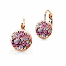 Rose Gold Plated Pink Crystal Lever Back Earrings  Bridal Birthday Gift