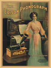 """12"""" X16"""" Reproduced Edison Cylinder Phonograph Canvas Banner"""