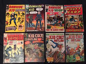 MARVEL WESTERN lot of 8 comics: Kid Colt Outlaw, Rawhide Kid, Wyatt Earp...VG-