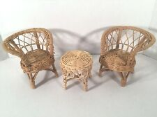 Barbie And Others Doll Wicker Chairs and Table Set