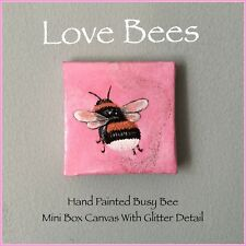 Love API Busy Bee Mini Box Tela * Opere d'arte originale dipinto a mano con brillantini